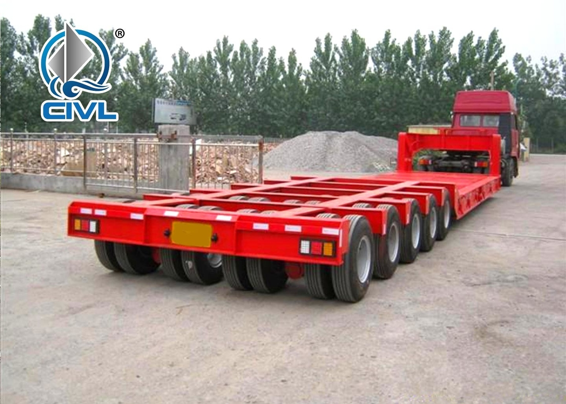 Transport Machines Low Bed 4 Axles 150 Tons Semi Trailer Trucks