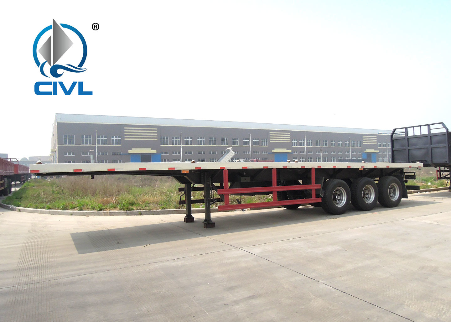40 Feet Container Carrying Semi Trailer Trucks / Flatbed Container Semi Trailer 3 Axles