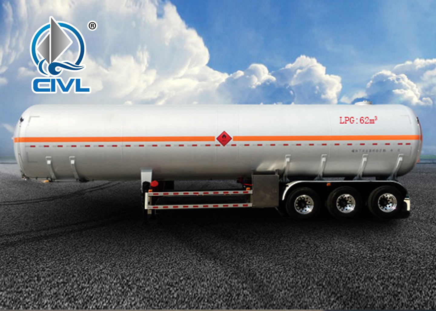 62m3 LPG Trailer Semi Trailer Trucks Stainless Steel For Lpg Transport Liquefied Gas